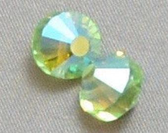 "Vintage Swarovski article 5101 ""aspirin"" bead 10mm crystal Peridot AB (2)"