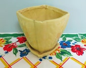 1940s Yellow Pottery Flower Pot, Embossed Fern Leaf Pattern, Square Shape, Attached Saucer