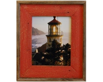 Barnwood Picture Frame - Lighthouse Red Distressed Wood Frame