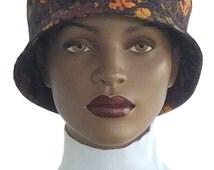 Hat Floral Pattern Bucket Hat 100% Cotton Satin Lining  Handmade
