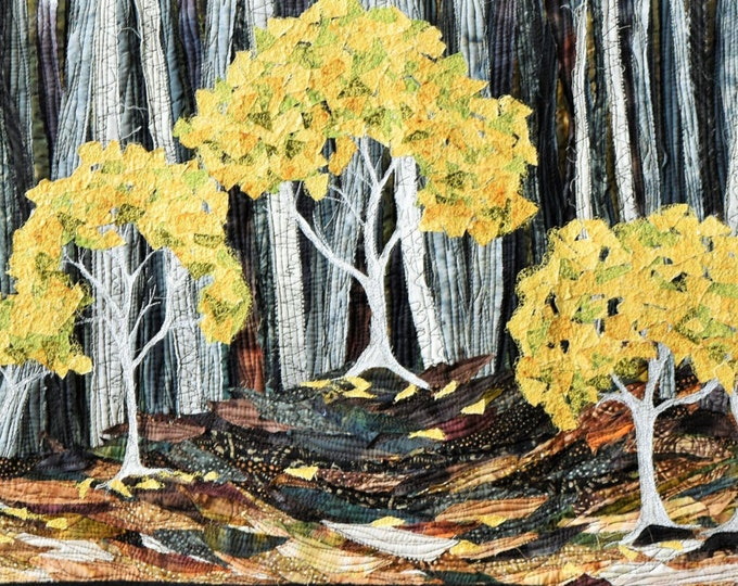 Golden Wattles at the Forest Edge art wall quilt by Cindy Watkins