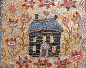Crooked House rug hooking pattern on linen//floral garden log cabin design