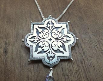 Corelia statement necklace and brooch - arabesque boho statement necklace or brooch with amethyst drop - unique silver statement necklace