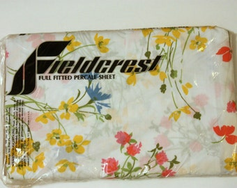 Vintage Full Fitted Sheet, Full Bed Sheet, NOS Bed Sheet, Full Sheet, Retro Bed Sheet, Unused Bed Sheet, Floral Bed Sheet, Double Bed Sheet