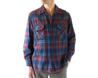 Vintage Pendleton Shirt / Men's Plaid Shirt / Wool Shirt / Large L