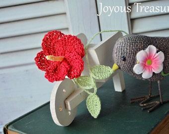 Handmade Bookmark Crochet Flower Bookmark Red Hibiscus Flower Cotton Bookmark, Fiber Bookmark