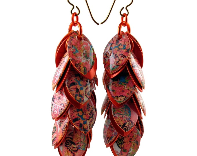 Custom Handcrafted Paisley Inspired Orange Dangle Earrings