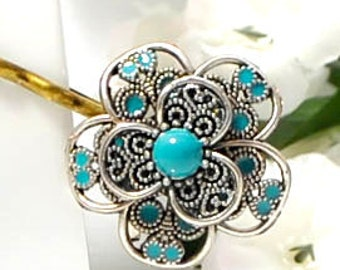 Flower Hair Pin Flower Bobby Pin Silver Blue Hairpins Flower Hair Pin Something Blue