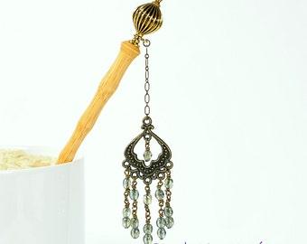 "Geisha Hairstick Chandelier Hairstick Charm Hair Pin 5 inch Bun Pin Pirate Hair Beads -""Odyssey"""