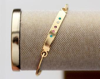 Birthstone Bangle Bracelet - Personalized Birthstone Bangle Bracelet, Mother's Day Gift, SWING TOP GOLD Bar, Gift for Mom, Birthstones