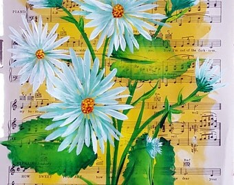Original One Stroke Floral Acrylic Painting on Vintage Music Paper
