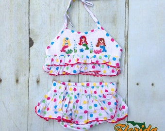 Smocked Mermaid Two Piece Bathing Suit for Girls 9 months
