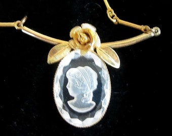Reverse Carved Lady Cameo Pendant Necklace Lucite with Mesh Rose Vintage