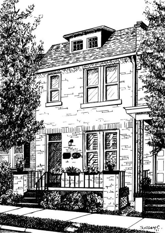 Custom House Portrait by Suzanne Churchill, Pen & Ink Sketch or Watercolor Painting, Perfect Realtor Closing, Housewarming or Thank You Gift