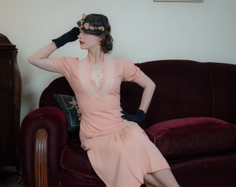 Vintage 1930s Dress - Darling Pale Pink Rayon 30s Day Dress with Surplice Neckline, Pleated Skirt and Wide Lace Trim