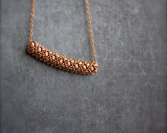 Rose Gold Beadwork Necklace - Peach Copper, Beaded Tube, Terracotta Pink, Beadwoven Cimbicid, Boho Jewellery
