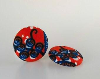 Button earrings, Fabric button earrings, Stud button earrings, African button earrings, African fabric earrings, Button jewelry, Sister gift