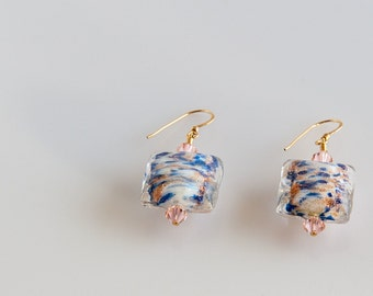 Lampwork glass bead earrings