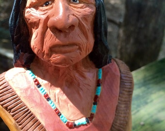 Native American Indian woodcarved bust