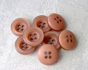 Cocoa Brown Buttons 19mm - 3/4 inch Concave Brown Sew Through Buttons w/ Frosted Rims - 9 VTG NOS Hot Chocolate Brown Sewing Buttons PL558
