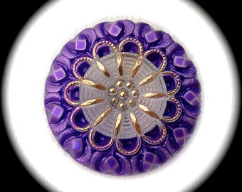 PAiR Czech Glass Buttons 27mm - 1 1/16 inch Purple & White Blossom Flowers with Gold Luster Lace Petal Design - 2 Glass Buttons GL32