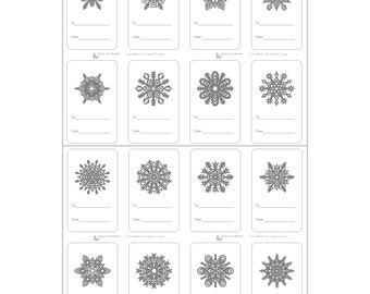 16 Printable Snowflake Tags, Printable Gift Tags, Christmas Gift Tags, Holiday Gift Tags, Printable Labels