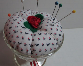 Ice cream cup Pin Cushion, Country print with Cherry accent, Pin Keep