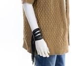 Leather Fringe Wrist Cuff Custom Made Black Tan Brown Small Medium Large