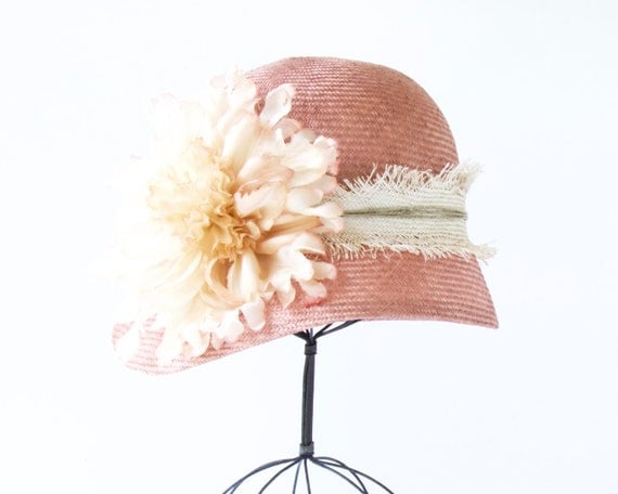 Straw Cloche Hat Women Spring Fashion Spring Accessories Spring Hat Great Gatsby Hat Wedding Flapper Hat Straw Hat Pink Cloche Summer Hat