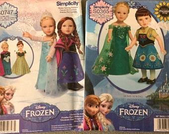 "DISNEY FROZEN Doll Costume Sewing Pattern ~ Set of 2 American 18"" Dolls Costumes Patterns Uncut"