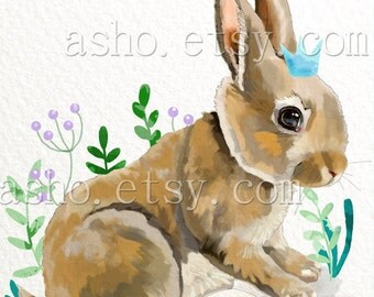 Rabbit print, bunny wall art, woodland nursery print, nursery bunny decor, rabbit nursery decor, bunny printable, watercolor rabbit ,crown