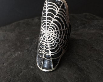 Spider Web Cuff Ring  - Silver  - by Jamie Spinello - Solid Sterling Silver