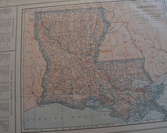 1914 State Map Louisiana - Vintage Antique Map Great for Framing 100 Years Old