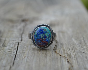 Chrysocolla with Azurite Brass and Sterling Silver Ring  Size 8 1/2