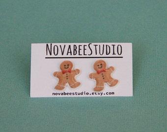 Gingerbread man stud earrings! Cookies!