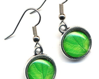 Green Leaves Earrings, Surgical Steel Earrings, Bright Green Earrings, Nature Lover Earrings by AnnaArt72