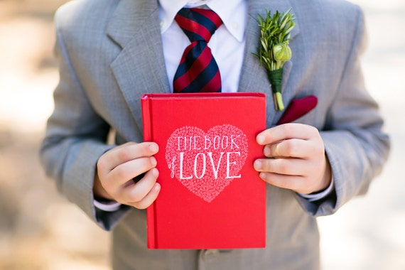 The Book Of Love Engagement Ring Holder Hollow Book Box Heart Circle Cut Red Ring Bearer Wedding Engagement Proposal Idea - CUSTOM ORDER