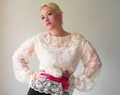 Edwardian Lace Poet Sleeve 1970s Vintage Sheer Blouse