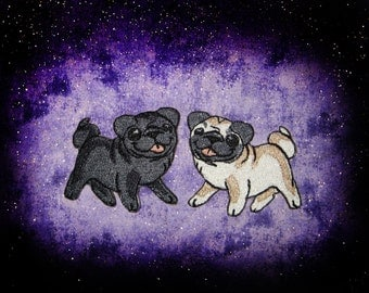 Kawaii Black and Fawn Pug Pair Iron on Patch