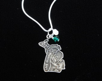 Michigan State Spartans Necklace, Sterling Silver State of Michigan Map Charm Pendant Necklace with Green & White Beads- Michigan Necklace