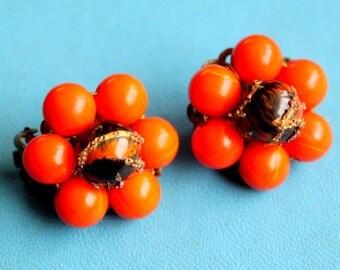 Vintage Earrings Orange Amber Cluster clip on Japan