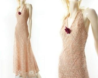 Vintage 30s Dress 1930s Dress 30s Ecru Lace Dress 1930s Prom Dress Lace Prom Dress Low Back Prom Dress 30s Wedding 30s Bias Cut Dress xs