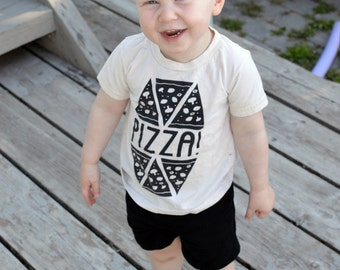 Pizza Fun Kids Birthday Party Shirt Organic and Handprinted