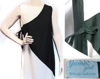 Vintage 1960s Mod Black and White Rayon Summer Maternity Dress SZ S-M