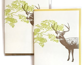 Box of 6 DEER cards, Letterpress Stag Card, Letterpress Card, Blank Greeting Cards, blank card, nature card, woodland card, greeting cards