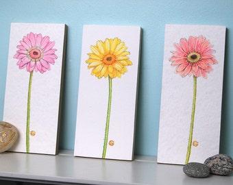 Three Gerbera Daisy Flower Prints Mounted Wood Block Floral