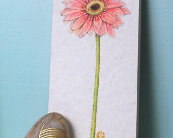 Peach Gerbera Daisy Flower Print Mounted Wood Block Floral