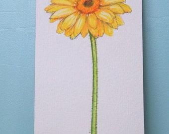 Yellow Gerbera Daisy Flower Print Mounted Wood Block Floral