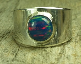steel blue lab opal Sterling silver ring, size 8.75, statement ring, dinner ring, handmade in the US, ready to ship, unisex ring