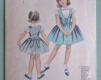 Vintage Sewing Pattern 1950s Girl's Blouse and Overdress Dress Age 5 - 6 years 50s children's patterns UNUSED factory folded
